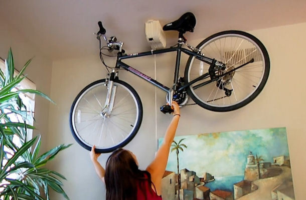 Bicycle Ceiling Mount Storage System Promises Ease Of Use   GoBIKEMD    GoBIKEMD